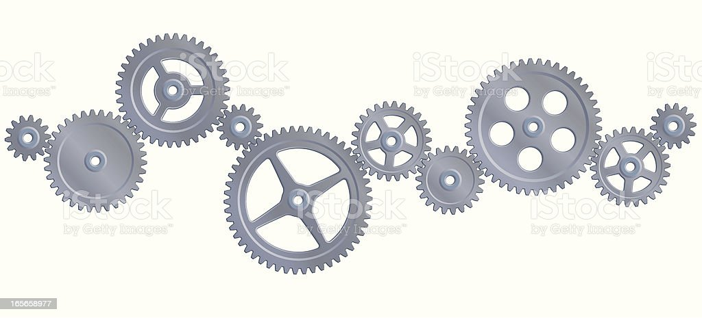 Several gray different size gears royalty-free stock vector art
