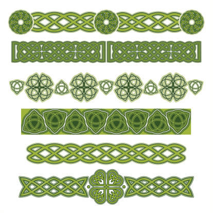 Several green Celtic designs on a white background