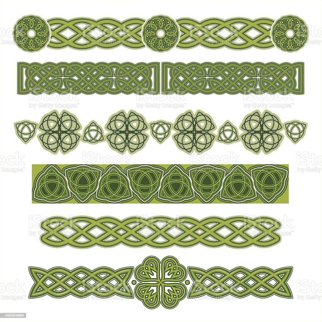 Several green Celtic designs on a white background vector art illustration