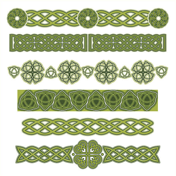 Several green Celtic designs on a white background Set of Celtic Design Elements. Vector. celtic knot stock illustrations