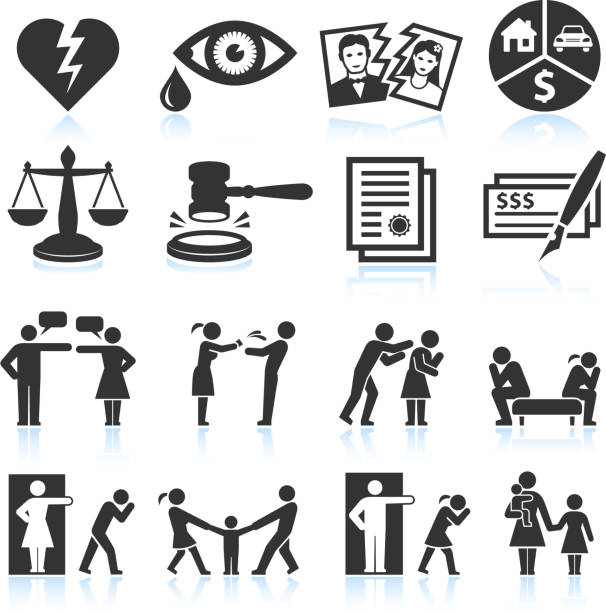 Several icons that symbolize relationship trouble Divorce and bad relationship black & white icon set blame stock illustrations