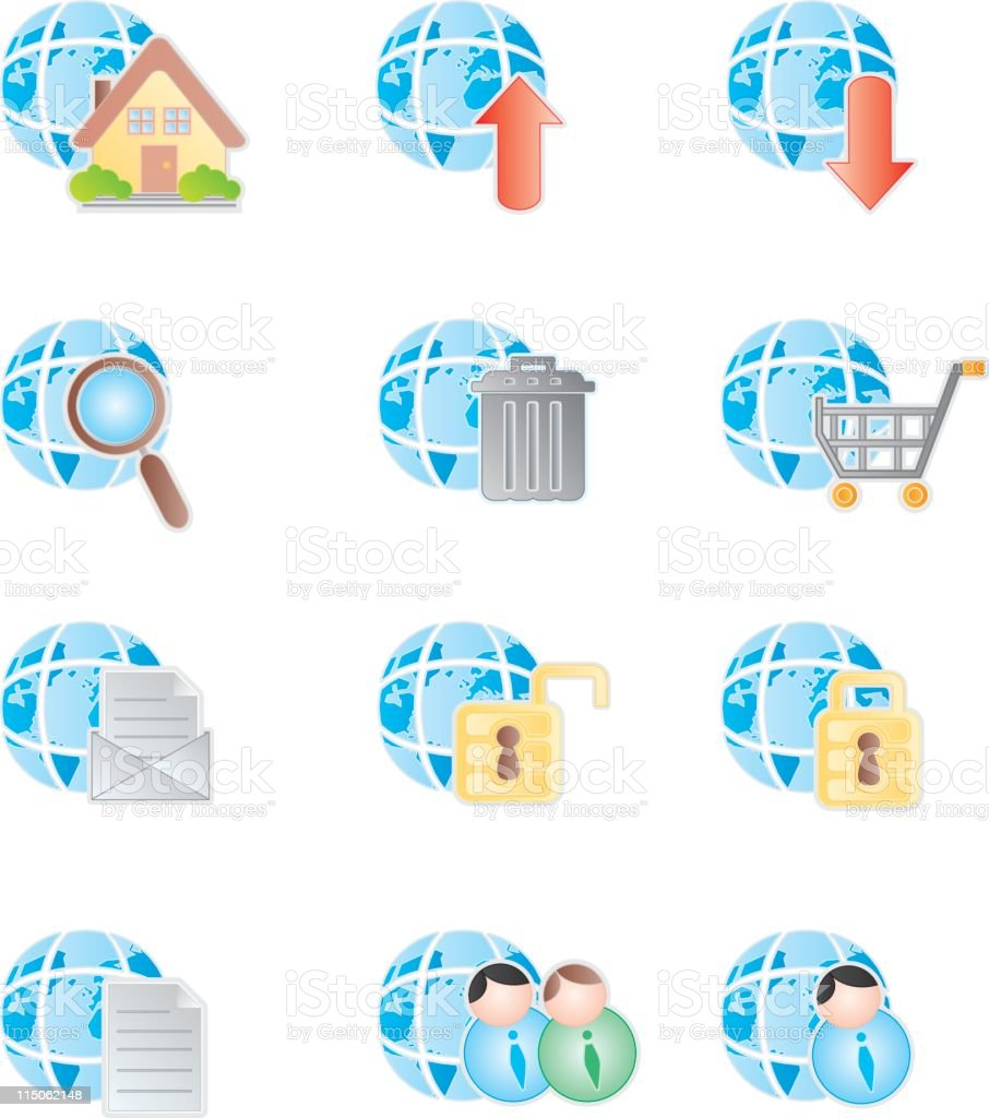 Several Illustrated Internet Icons royalty-free stock vector art