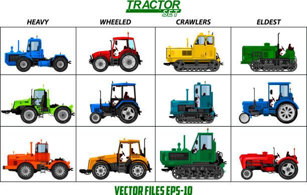 bildbanksillustrationer, clip art samt tecknat material och ikoner med flera bilder av traktorer, ligger på separata lager, för använda i olika syften. - traktor pulling