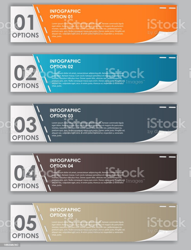 Several infographic banners in different colors royalty-free stock vector art