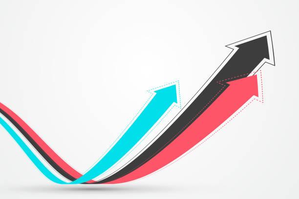 Mehrere verschachtelte verlängerte Pfeile symbolisieren die Moral des Wachstums und der Förderung, Vektor-Illustration. – Vektorgrafik