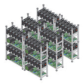 Several isometric vector crypto currency mining farms concept with graphic video cards isolated.