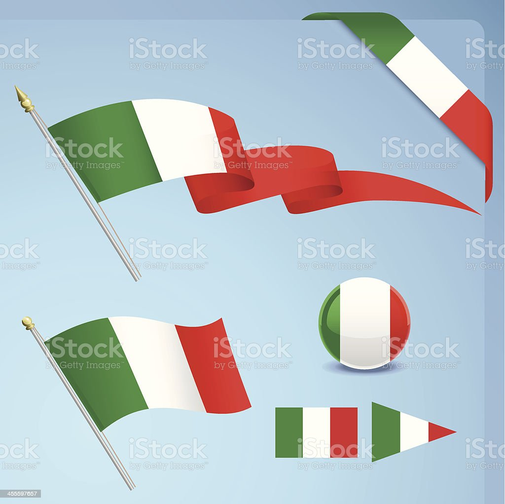 Several items themed with the Italian flag vector art illustration