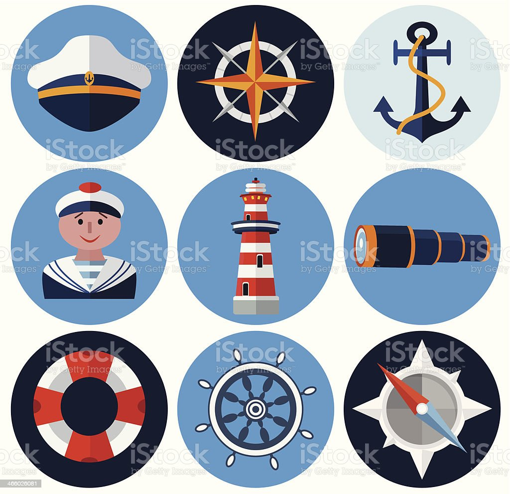 Several nautical icons against white background royalty-free several nautical icons against white background stock vector art & more images of anchor - vessel part