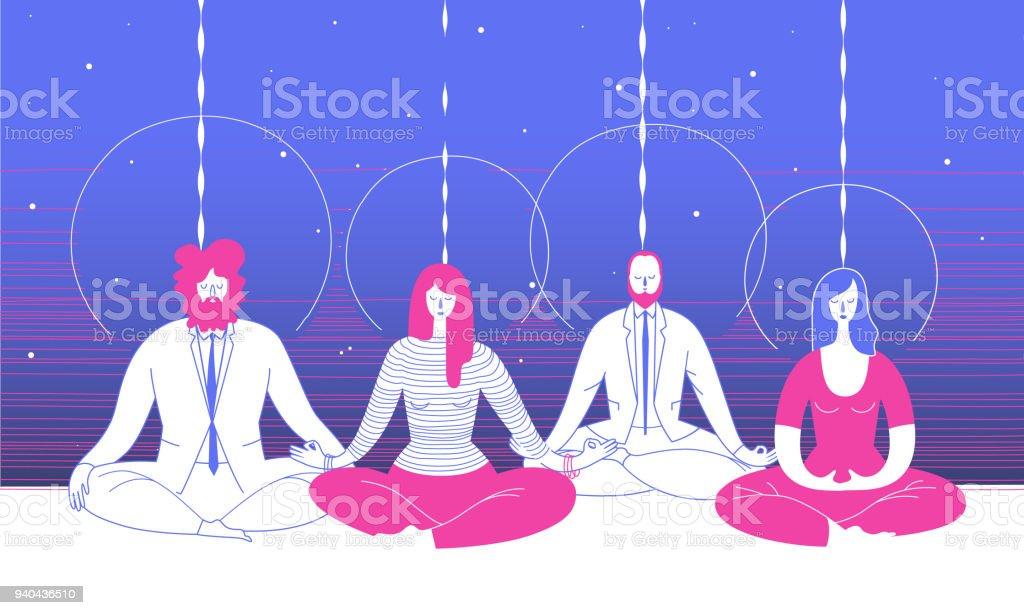 Einige Büroangestellte in intelligente Kleidung in Yogaposition sitzen und meditieren vor abstrakten blauen Hintergrund. Konzept der Business-Meditation und Teambuilding-Aktivität. Vektor-Illustration für Poster. – Vektorgrafik