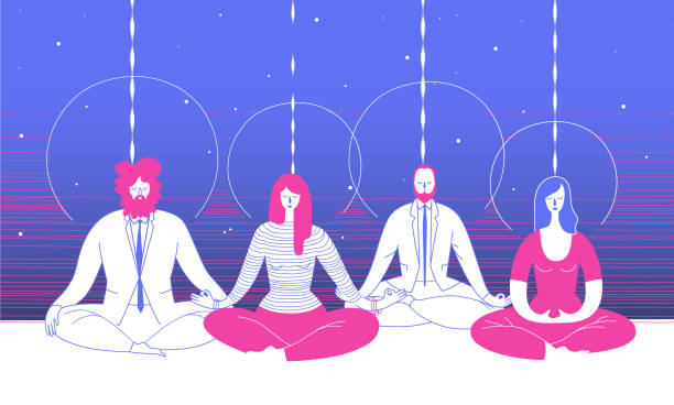 several office workers in smart clothing sit in yoga position and meditate against abstract blue background. concept of business meditation and team building activity. vector illustration for poster. - mindfulness stock illustrations
