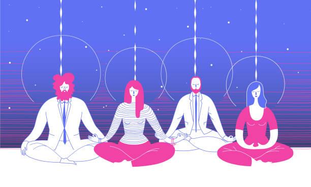 stockillustraties, clipart, cartoons en iconen met verschillende kantoorpersoneel in slimme kleding zit in yoga positie en mediteren tegen abstracte blauwe achtergrond. concept van business meditatie en teambuilding activiteit. vectorillustratie voor poster. - mindfulness