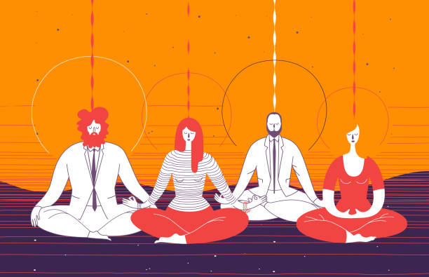 several office workers in smart clothing sit in yoga position and meditate. concept of business meditation, mindfulness, concentration, and team building activity. vector illustration for poster. - mindfulness stock illustrations