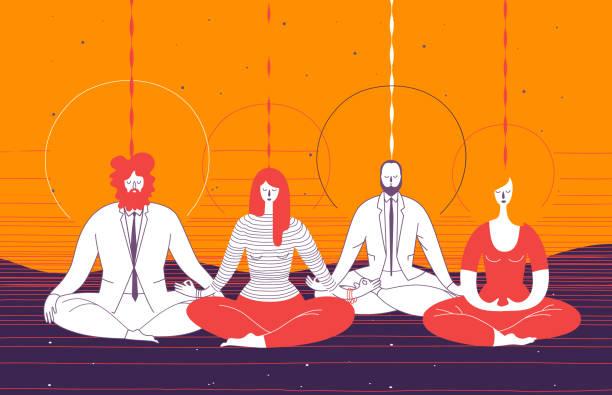 stockillustraties, clipart, cartoons en iconen met verschillende kantoorpersoneel in slimme kleding in yoga positie zitten en te mediteren. concept van business meditatie, mindfulness, concentratie en teambuilding activiteit. vectorillustratie voor poster. - mindfulness