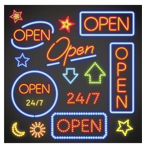 Several options for neon signs that say open Vector illustration of open neon signs. open sign stock illustrations
