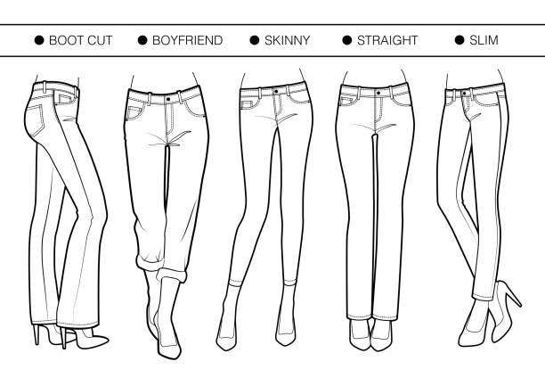 Several silhouettes of trousers Boot cut, boyfriend, skinny, straight, slim fits skinny pants stock illustrations