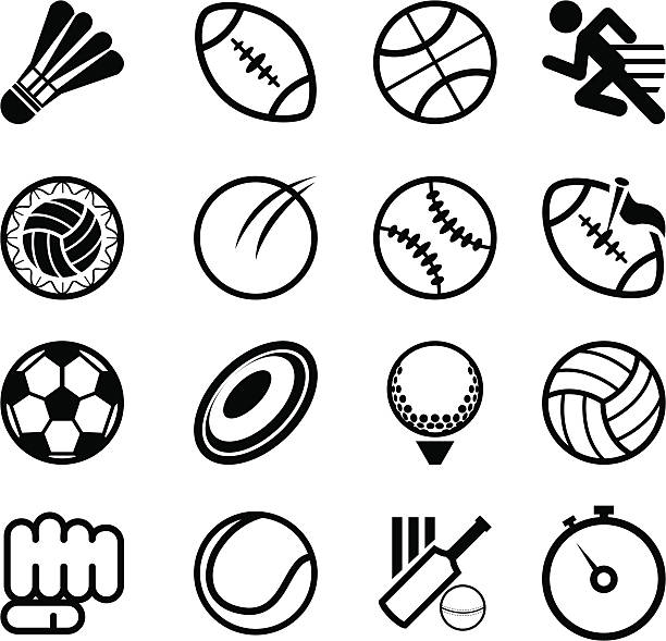 Several sports related icons on a white background Simple Sport Icons Collection Set. Usefull For Sport Theme. shuttlecock stock illustrations