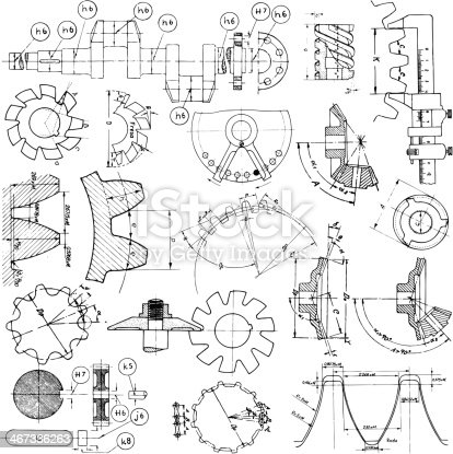 Several grunge technical vector drawing elements.