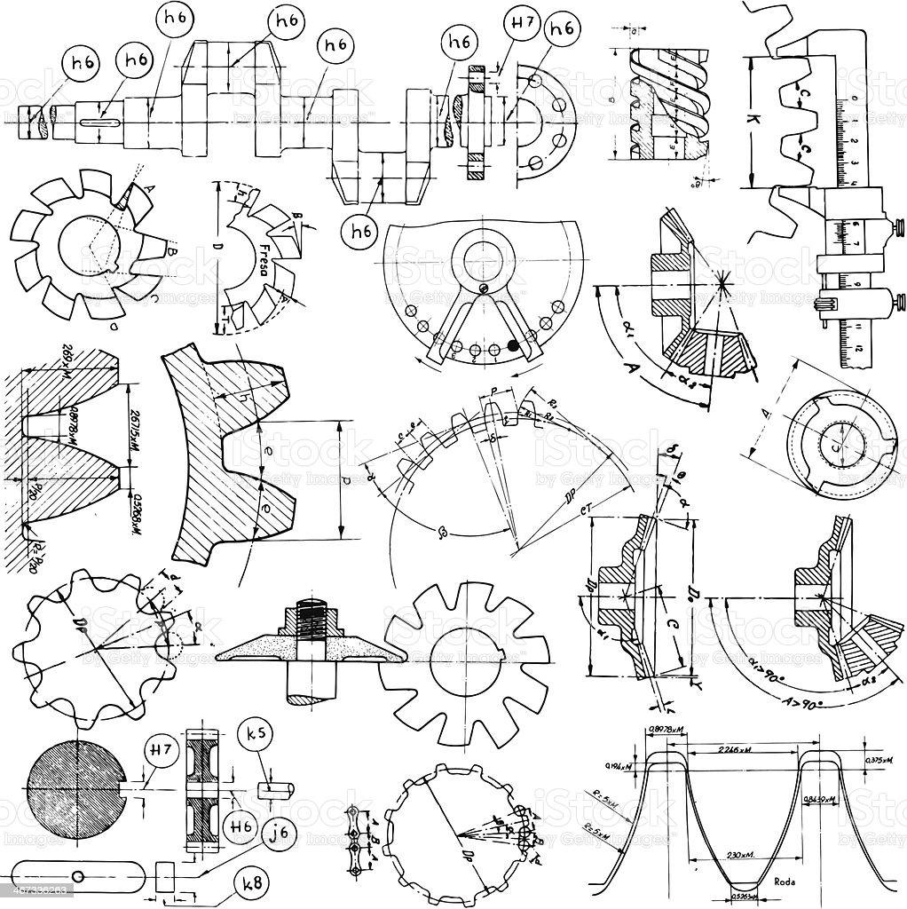 Several Technical Drawings vector art illustration