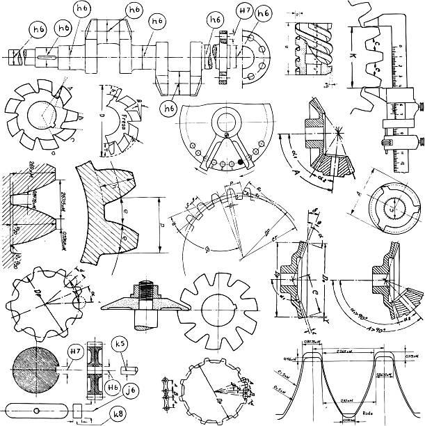Varios dibujos técnicos - ilustración de arte vectorial