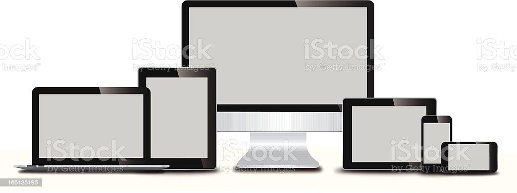 Several technology devices against white background vector art illustration
