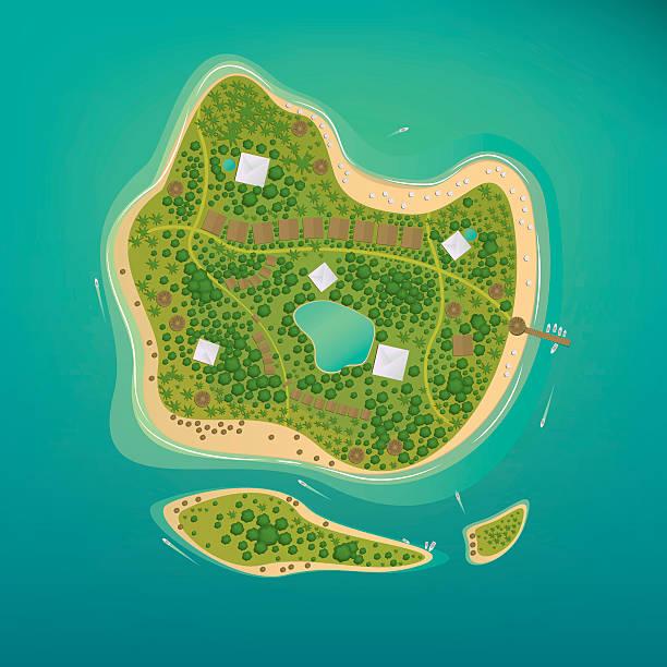 several tropical islands in the open ocean - 森林 俯瞰点のイラスト素材/クリップアート素材/マンガ素材/アイコン素材