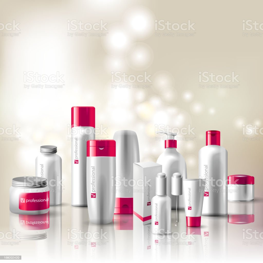 Several types of cosmetic containers in red and white vector art illustration