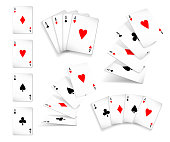 Several variants Set of four aces deck of cards for playing poker and casino. Four aces of diamonds, clubs, spades and hearts fall or fly on white background. Vector illustration