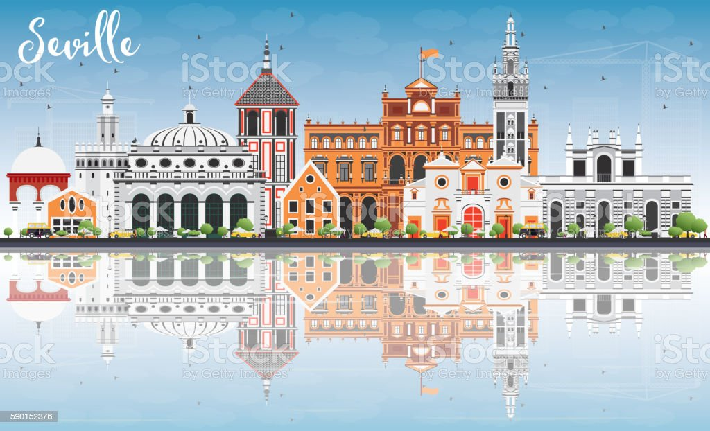 Seville Skyline with Color Buildings, Blue Sky and Reflection. vector art illustration