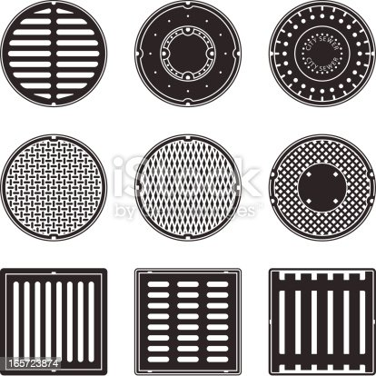 A set of square and round sewer caps and grids.