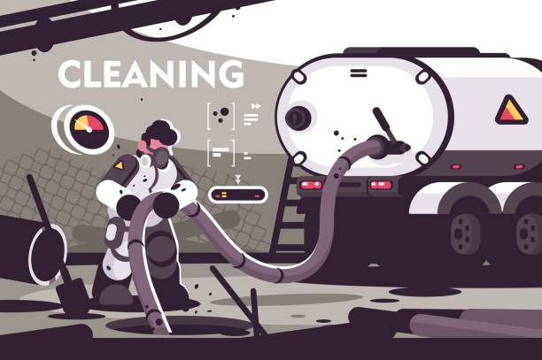 Sewer Cleaning service flat poster Sewer Cleaning service flat poster. Professional plumber characters in uniform working at sewer manhole with septic truck plumbing serve vector illustration pipefitter illustrations stock illustrations