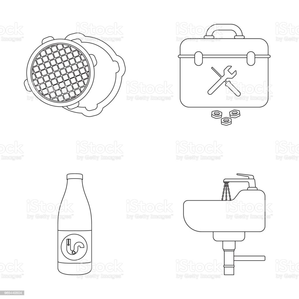 A sewer hatch, a tool box, a wash basin and other equipment.Plumbing set collection icons in outline style vector symbol stock illustration web. royalty-free a sewer hatch a tool box a wash basin and other equipmentplumbing set collection icons in outline style vector symbol stock illustration web stock vector art & more images of drawer