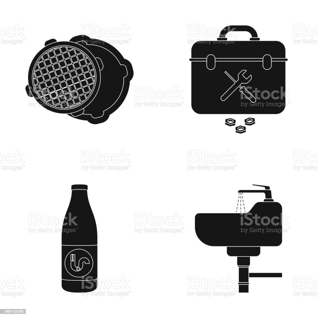 A sewer hatch, a tool box, a wash basin and other equipment.Plumbing set collection icons in black style vector symbol stock illustration web. - Векторная графика Векторная графика роялти-фри