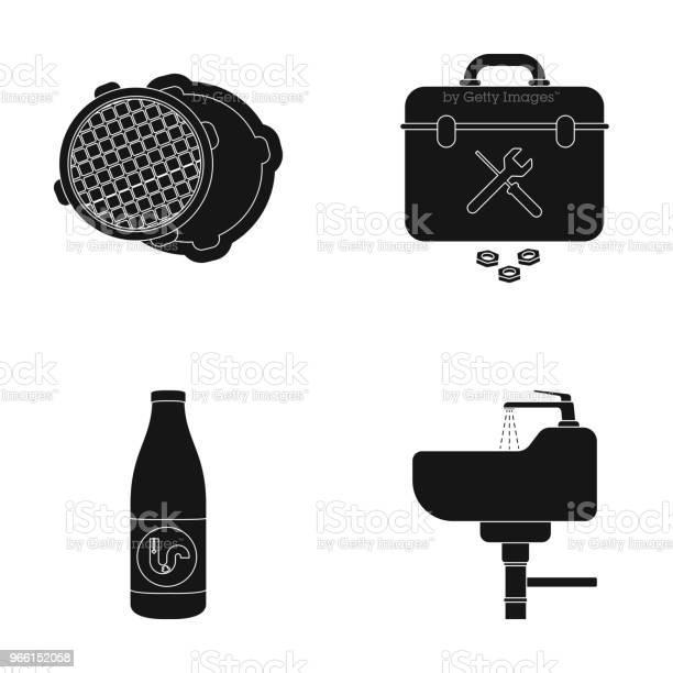 A Sewer Hatch A Tool Box A Wash Basin And Other Equipmentplumbing Set Collection Icons In Black Style Vector Symbol Stock Illustration Web - Arte vetorial de stock e mais imagens de Conjunto de ícones