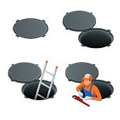 Sewer hatch Open and closed. Manhole cover, road hatch Vector illustration construction under a road. Vector illustration