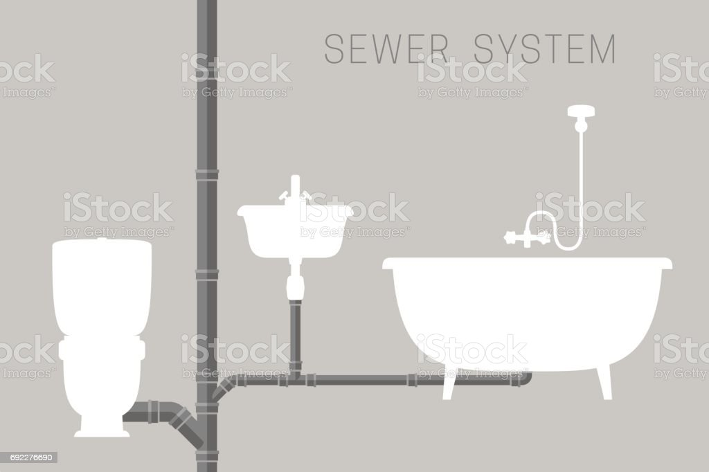 Sewer system with pipes vector art illustration