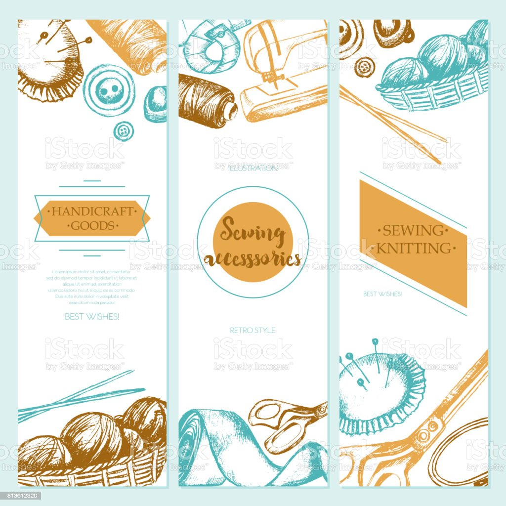 Sewing Accessories - color drawn template banner. vector art illustration