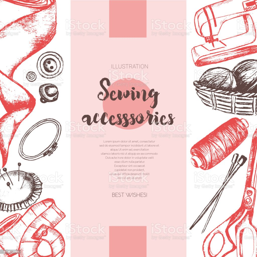 Sewing Accessories - color drawn vintage banner. vector art illustration