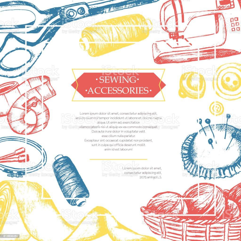 Sewing Accessories - color vintage postcard. vector art illustration