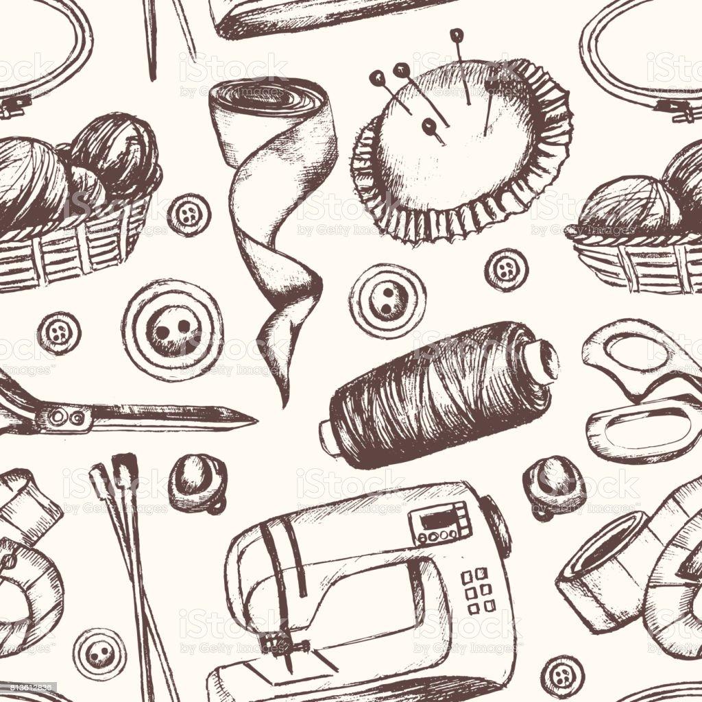 Accesorios De Costura La Mano Dibujada De Patrones Sin Fisuras ...