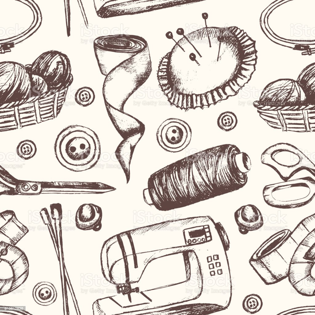 Sewing Accessories - hand drawn seamless pattern vector art illustration