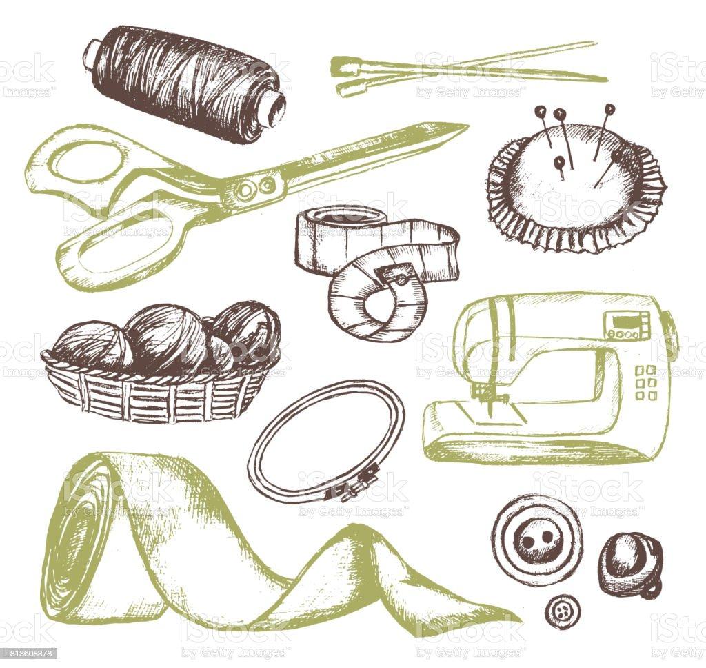 Sewing Accessories - vector vintage illustration vector art illustration