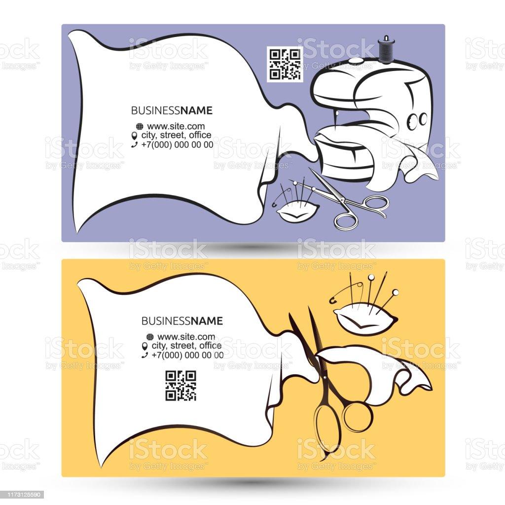 Nähen Und Schneiden Master Visitenkarte Stock Vektor Art Und