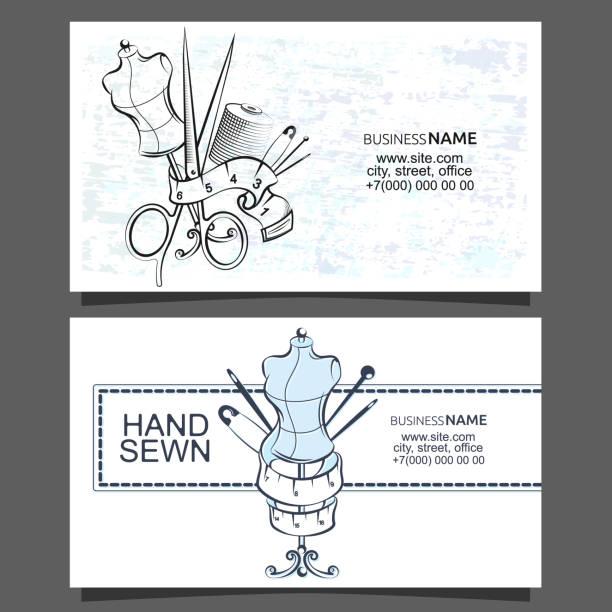 illustrazioni stock, clip art, cartoni animati e icone di tendenza di sewing and cutting of business cards - tailor working