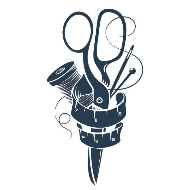 illustrazioni stock, clip art, cartoni animati e icone di tendenza di sewing and cutting set - tailor working