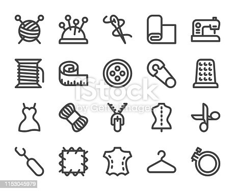 Sewing and Needlework Bold Line Icons Vector EPS File.