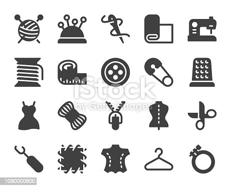 Sewing and Needlework Icons Vector EPS File.