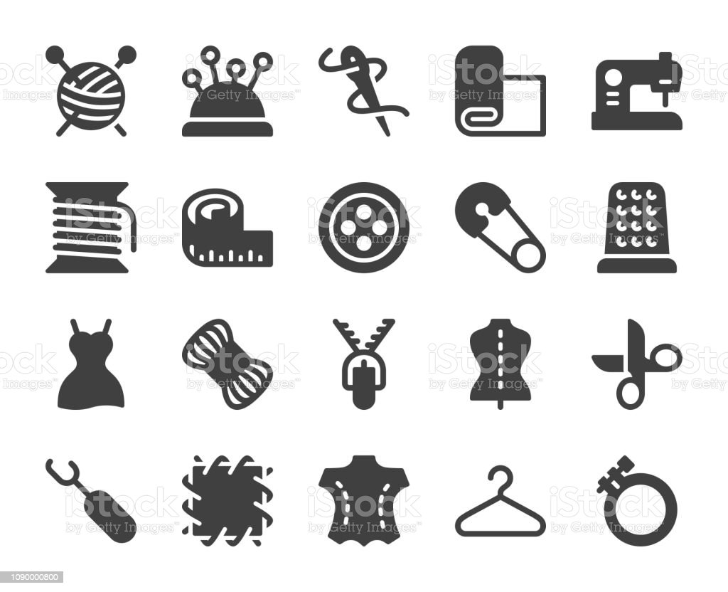 Sewing and Needlework - Icons vector art illustration