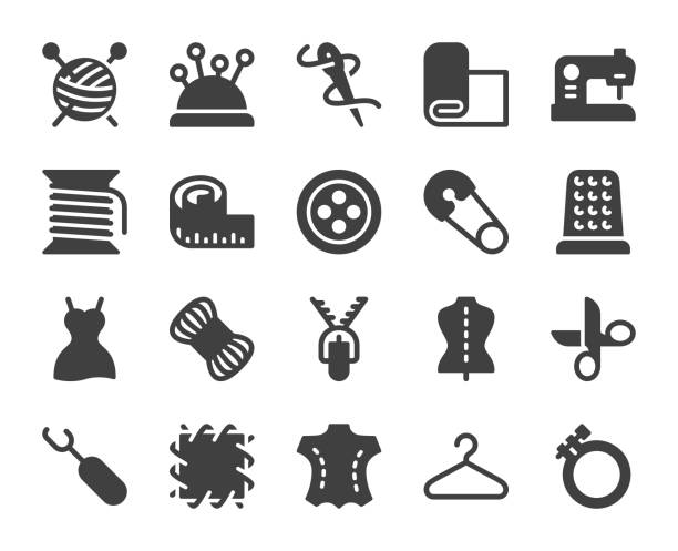 nähen und handarbeiten - symbole - lederverarbeitung stock-grafiken, -clipart, -cartoons und -symbole
