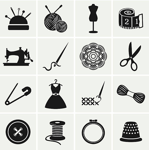 Sewing and needlework icons. Vector set. Set of sewing and needlework icons. Collection of design elements. Vector illustration. lace textile stock illustrations