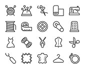 Sewing and Needlework Line Icons Vector EPS File.
